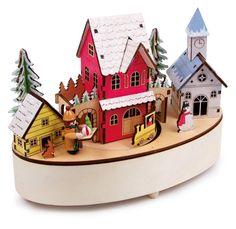 Carillon Natalizio!!! Alla melodia di una canzone natalizia il trenino attraversa il pittoresco paesino con casette illuminate da luci a LED! Carillon anche come oggetto d'arte da mostra con numerosi dettagli. Batterie non incluse. Dimensioni:ca. 22 x 11 x 17 cm