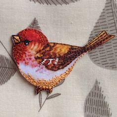 アップリケワッペン-赤い鳥   W-0666