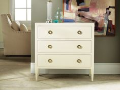 Painted Three Drawer Chest on Legs - Chests | Modern History