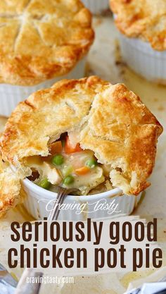 Seriously Good Chicken Pot Pie – Craving Tasty The one chicken pot pie recipe you will ever need. Easy to make, yet so good. The pie crust is light, flaky and crispy. Absolute delight paired with the creamy chicken filling. Easy Pie Recipes, Dinner Recipes, Great Recipes, Cooking Recipes, Favorite Recipes, Fast Recipes, Oven Recipes, Salad Recipes, Recipies