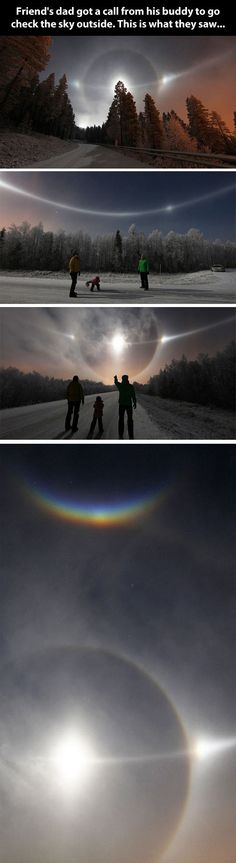 Very unusual sky… Called an ice halo, a larger version of sundogs that form when there are a large amount of ice crystals suspended high in the atmosphere