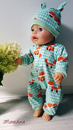 Free sewing patterns for dolls - Babykleidung Sewing Patterns Free, Free Sewing, Doll Clothes Patterns, Clothing Patterns, Baby Born Kleidung, Baby Vest, Baby Onesie, Crochet Handbags, Diy Crafts