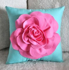 Pink Rose on Bright Aqua Pillow by bedbuggs on Etsy- Anna's room