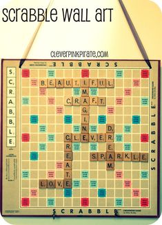Inspiration.  Any way to get remove the paper off the board and mount to metal then make letters magnetic.  That would be awesome! Scrabble Wall Art