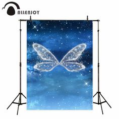 Allenjoy shiny butterfly wings in the night blue sky with stars children backdrop wonderland fund for photographic professional