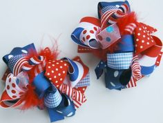 boutique set of 2 FUNKY FUN PATRIOTIC hair bow clips by andjane, $22.99