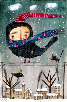 Elisabetta Decontardi I will call you Bird On a Wire In Winter fr: Sharon Davies via Suzan Buckner on Pintrest Winter Illustration, Children's Book Illustration, Illustration Styles, Whimsical Art, Bird Art, Love Art, Art For Kids, Drawings, Photos