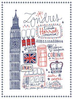 London drawn type - could make a neat art project, kids pick city, research sites to see and combine all in a drawing - i like this!