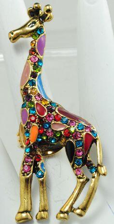 Multicolor Giraffe Ring/Rhinestone/Gold/Colorful/Gift For