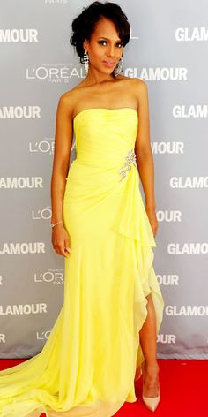 So lovely, the woman and the gown. (I may wish for sparkly sandals, but what do  I know.) (Kerry Washington in Marchesa)