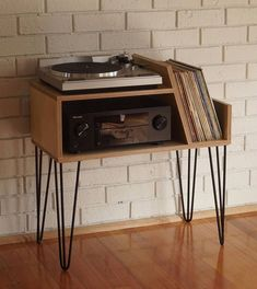 Made from Russian premium birch plywood and steel hairpin legs Wood is finished in Scandinavian Oil. Record player platform size is 46 x off the floor. Amplifier space is 47 x 37 x 22 cm high. SHIPPING : Pick up from Rosanna, Vic. Plywood Furniture, Diy Furniture, Furniture Design, Furniture Storage, White Furniture, Plywood Art, Plywood Projects, Plywood Floors, Modular Furniture