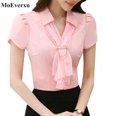 Women Summer Chiffon Scarf Collar Short Sleeve Shirt Tops Blouse Brand New Blouses Office Ladies Plus Size Work Wear Slim Tops Blouse Styles, Blouse Designs, Neck Designs For Suits, Plus Size Kleidung, Office Ladies, Office Office, Dress Sewing Patterns, Chiffon Shirt, Blouse Dress