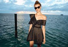 Givenchy Black Crystal Wayfarer Sunglasses $325 and Self-Portrait Guipure Black Frill Mini Dress $510