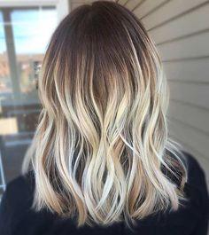 Vanilla Blonde Balayage on Mid Length, Brunette Hair