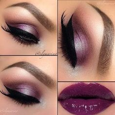 -->Perfect Club Makeup Looks Featuring Sexy Smokey Eyes! - Purple Smokey Eyes with Winged Eyeliner, Glossy Plum Lipstick Sexy Smokey Eye, Smoky Eyes, Pretty Makeup, Love Makeup, Purple Makeup, Purple Eyeshadow, Fall Makeup, Plum Lipstick, Green Makeup