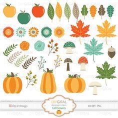 Fall Elements Clip Art Set- 38 clipart- fall leaves, autumn leafs, maple leafs, acorn, mushrooms, apples, pumpkins, Thanksgiving invitations