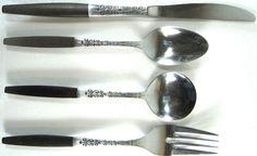 Interpur Vtg Four Piece Set Tea Spoon Soup Spoon Fork Butter Knife.  QQQ 27 #Interpur