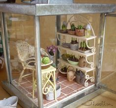 miniature room in a lantern