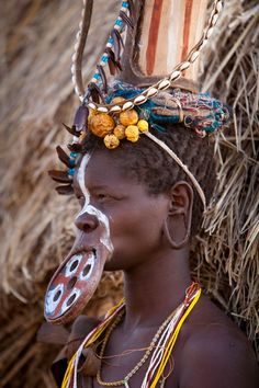Africa | Young woman of the Mursi tribe, Omo River Valley, Ethiopia | ©Jim Zuckerman