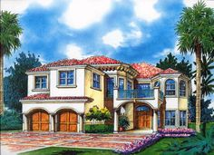 House Plan 168-00045 - Mediterranean Plan: 3,869 Square Feet, 4 Bedrooms, 3.5 Bathrooms
