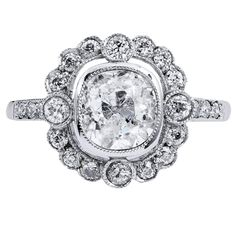 1.39 Carat old mine cut diamond Platinum Engagement Ring | From a unique collection of vintage engagement rings at https://www.1stdibs.com/jewelry/rings/engagement-rings/