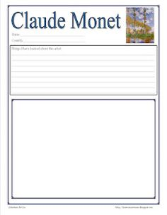Harmony Art Mom: Summer Art Ideas, Free Monet Notebook Page, Special Offer from Hearts and Trees