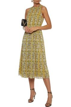 Shop on-sale Pleated printed burnout georgette midi dress. Browse other discount designer Midi Dress & more luxury fashion pieces at THE OUTNET Midi Dress Sale, Yellow Midi Dress, Dress Outfits, Fashion Outfits, Denim Shop, Jacket Dress, Luxury Fashion, Summer Dresses, Clothes For Women