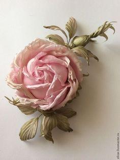 Купить Ника - бледно-розовый, роза, роза из шелка, роза заколка, роза брошь