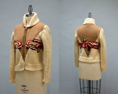 50s Mary Maxim Sweater - Vintage Fifties Cream and Tan with Red Race Car Cowichan Siwash Chunky Knit Sweater Original Lightning Zipper