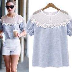 womens tops fashion 2014 Summer Short Sleeve Hollow Out Lace blouse Casual Floral Women shirt _ {categoryName} - AliExpress Mobile Top Fashion, Womens Fashion, Fashion 2014, Diy Clothes, Clothes For Women, Diy Kleidung, Mode Top, Mode Inspiration, Western Wear