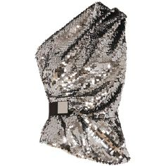 Carven Women's One Shoulder Sequin Top (1.445 RON) ❤ liked on Polyvore featuring tops, silver, off one shoulder tops, sequin top, carven top, one sleeve top and shimmer tops