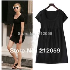 Summer  plus size 5XL women  clothing casual new fashion 100% cotton loose short-sleeve knitted  bottoming black one-piece dress $19.85