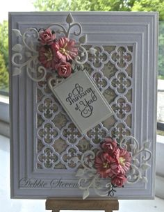 Ive used Spellbinders Grand rectangles,Spellbinders gift ensemble, Spellbinders our daily bread quatrefoil, Spellbinders antique frame and accents, the sentiment is large fancy sentiment from justrite, cream and white card stock from Annamarie designs