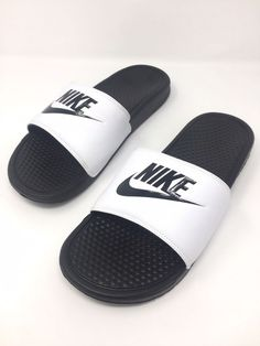 9891c324b52853 New Nike Mens Benassi JDI Size 12 White Black Slide Sandal  fashion   clothing