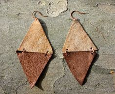 recycled leather triangle earrings. $26,00, via Etsy.