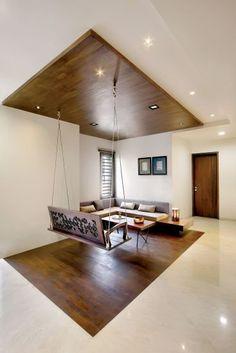 Nitya Bungalow – a+t associates Home Room Design, Indian Home Design, Interior, Apartment Interior, Indian Living Rooms, House Rooms, House Interior, Ceiling Design Living Room, House Interior Decor
