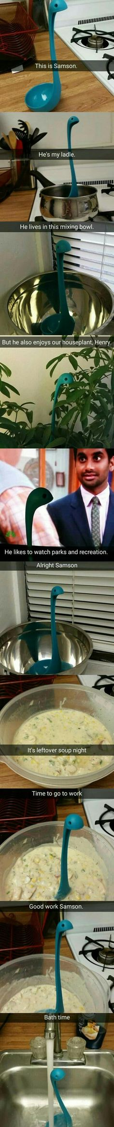 Samson the ladle - 9GAG<<It's a blue version of the Nessy ladle. It's so cute