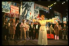 """Patti LuPone as Eva Peron (C) singing """"A New Argentina"""" in a scene from the Broadway production of the musical """"Evita."""" (New York) - NYPL Digital Collections Broadway Theatre, Musical Theatre, Evita Musical, Comedia Musical, Patti Lupone, Theatre Costumes, Textiles, Still In Love, New York Public Library"""