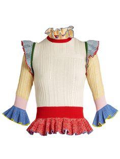 Click here to buy Alexander McQueen Peplum-hem wool and silk-blend sweater at MATCHESFASHION.COM