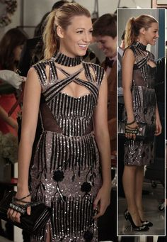 Serena's taupe sequin dress with studded clutch on Gossip Girl