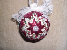 Quilted Fabric and Ribbon Christmas Ornament by humblehrtdesigns, $8.00