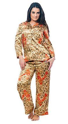 Womens Classic Animal Print Pajama SetsMediumGoldenCheetah *** BEST VALUE BUY on Amazon #SleepShirts