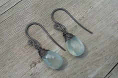 Seafoam Chalcedony Earrings Wire Wrapped with Oxidized $13