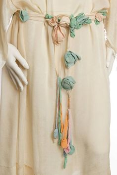 Early 1920s Kimono Sleeve Silk Dress with Roses and Lace (view 2)