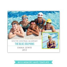 8x10 Memory Mate | Blue Dolphins | Photoshop templates for photographers by Birdesign