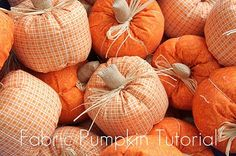 fabric pumpkin tutorial i did it friends. these are the most adorable cute fun to make fabric pumpkins. Fabric Pumpkins, Fall Pumpkins, Halloween Pumpkins, Fall Halloween, Halloween Crafts, Halloween Fabric, Autumn Crafts, Thanksgiving Crafts, Holiday Crafts
