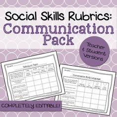 These rubrics were designed to help counselors, teachers, social workers, or SLPs keep track of a student's progress on #communication goals. The set includes 7 rubrics in both a teacher and student version (for a total of 14 rubrics + 2 blank ones to customize). Presented in PDF and editable Powerpoint format!