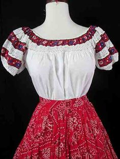 Muy Bonita 1950's Mexican peasant blouse with inset by wearitagain