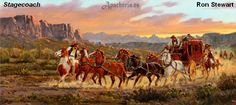 """Description: Oil painting by Listed Artist Ron Stewart entitled """"Stagecoach"""". Dimensions: Size is 12 x 24 inches Condition: Exce Westerns, Eskimo, Longhorn Cattle, Cultural Artifact, Cowboy Art, Western Art, Western Quotes, Western Cowboy, Le Far West"""