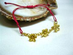 flower girl bracelet red bracelet adjustable by INDAJEWELLERY